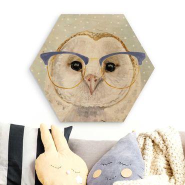 Esagono in legno - Animali Occhialuto - Owl