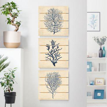 Quadro in legno effetto pallet - Indigo Coral Set I - Quadrato 1:1