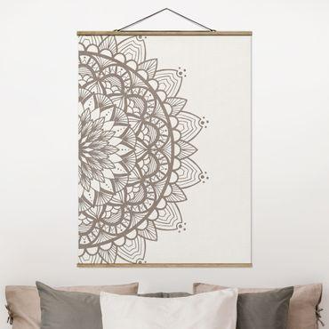 Foto su tessuto da parete con bastone - Mandala Illustrazione Shabby Set Beige Bianco - Verticale 4:3