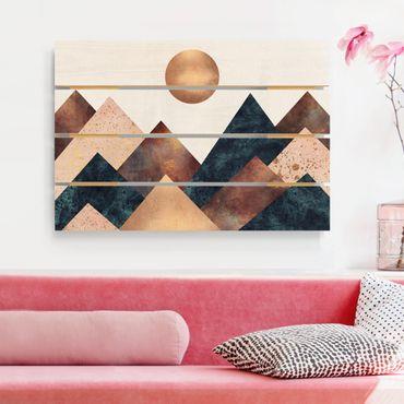 Stampa su legno - Elisabeth Fredriksson - Geometrico Monti bronzo - Orizzontale 2:3