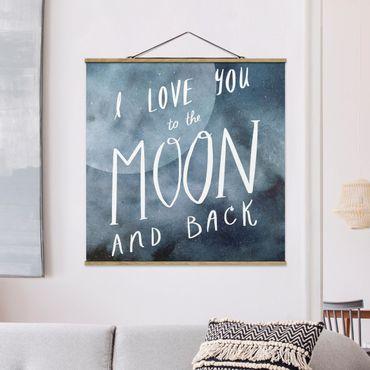 Quadro su tessuto con stecche per poster - Amore celeste - Luna - Quadrato 1:1