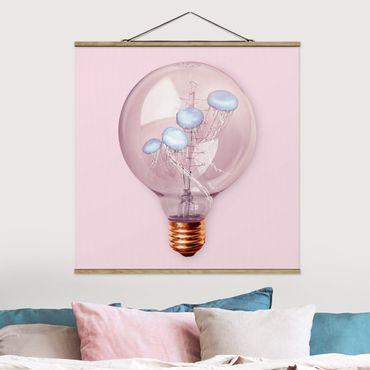 Foto su tessuto da parete con bastone - Lampadina con le meduse - Quadrato 1:1