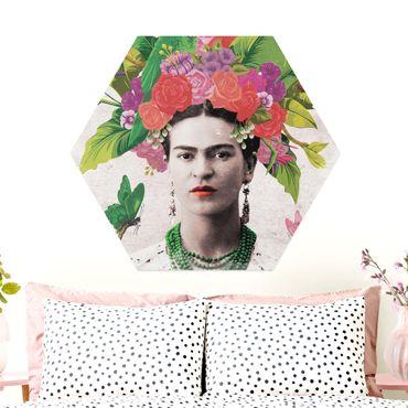 Esagono in Alu-dibond - Frida Kahlo - Fiore Ritratto