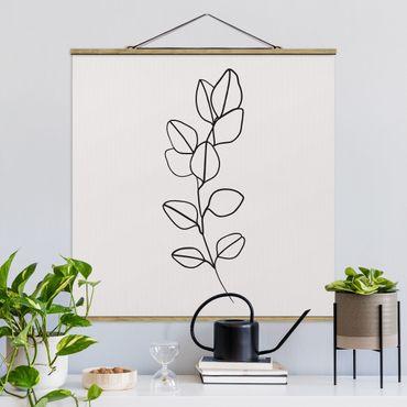 Quadro su tessuto con stecche per poster - Line Art filiale fogli Bianco e nero - Quadrato 1:1