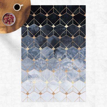 Tappeti in vinile - Elisabeth Fredriksson - Geometria blu di Art déco dorata - Verticale 2:3