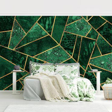 Carta da parati - Dark Emerald con oro- Formato quadrato