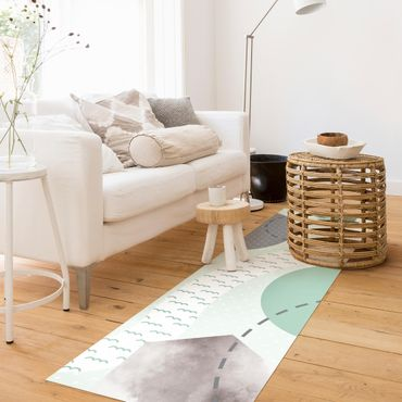 Tappeti in vinile - Tappeto grafico per bambini - Foresta e fiume - Pannello