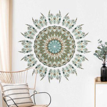 Adesivo murale - Piume Mandala Acquerello Blu Verde