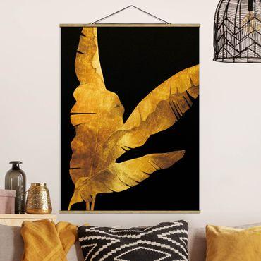 Foto su tessuto da parete con bastone - Gold - Banana Tree On Black - Verticale 4:3