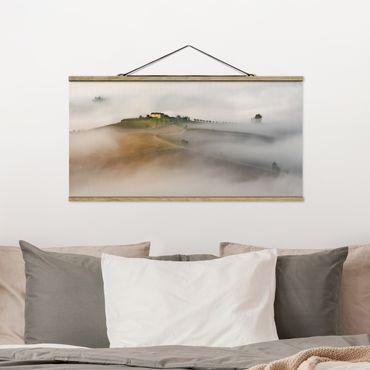 Foto su tessuto da parete con bastone - Morning Fog In Toscana - Orizzontale 1:2