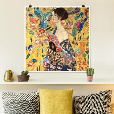 Poster - Gustav Klimt - Donna con ventaglio - Quadrato 1:1