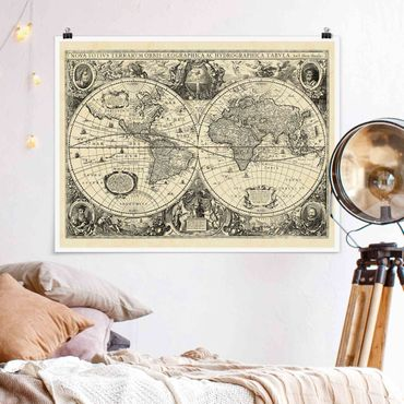 Poster - Illustrazione Vintage Mappa del mondo antico - Orizzontale 3:4