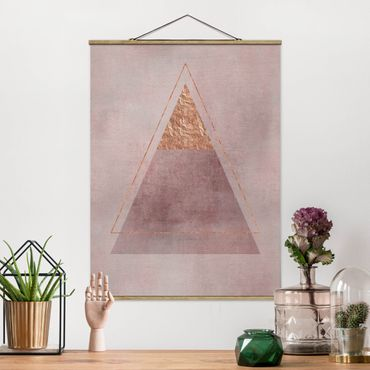 Foto su tessuto da parete con bastone - Geometria In rosa e oro II - Verticale 4:3