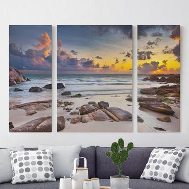 Stampa su tela 3 parti - Sunrise Beach In Thailand - Trittico