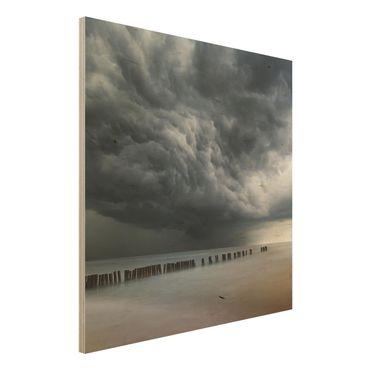 Quadro in legno - Nubi di tempesta sul Mar Baltico - Quadrato 1:1