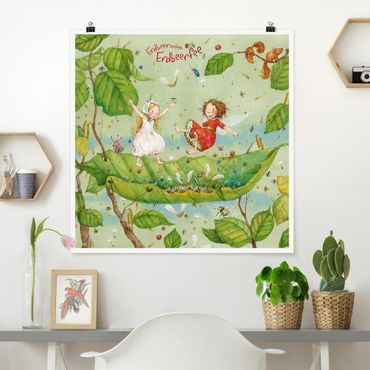 Poster - Strawberry Coniglio Erdbeerfee - Trampolino - Quadrato 1:1