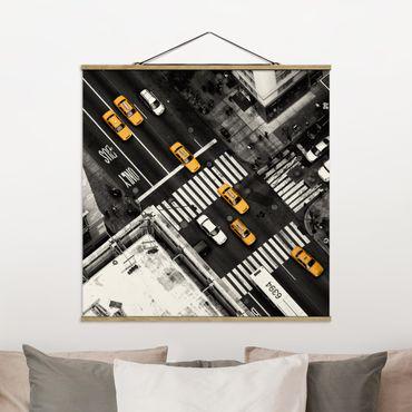 Foto su tessuto da parete con bastone - I taxi di New York - Quadrato 1:1