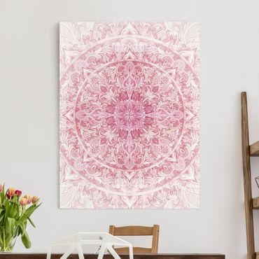 Stampa su tela - Mandala Acquerello Sun Ornament Rosa - Verticale 4:3