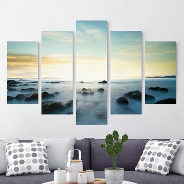 Stampa su tela 5 parti - Sunset over the ocean