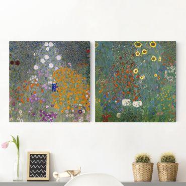 Stampa su tela 2 parti - Gustav Klimt - The Green Garden - Quadrato 1:1