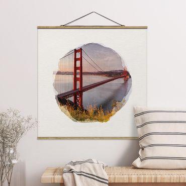 Foto su tessuto da parete con bastone - Acquerelli - Golden Gate Bridge di San Francisco - Quadrato 1:1