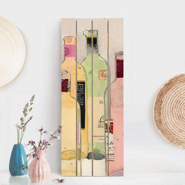 Stampa su legno - Bottiglie di vino in acquerello I - Verticale 5:2