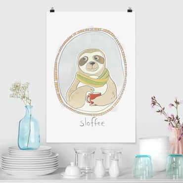 Poster - caffeina Sloth - Verticale 3:2