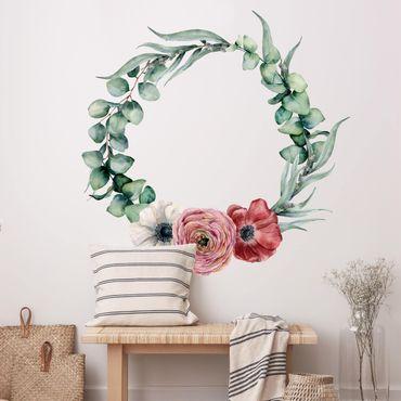 Adesivo murale - Acquerello eucalipto corona XXL
