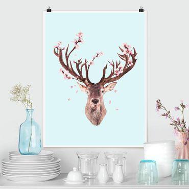 Poster - Cervo con Cherry Blossoms - Verticale 4:3