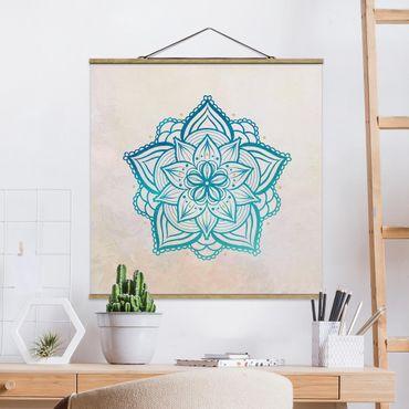 Foto su tessuto da parete con bastone - Mandala Hamsa mano Lotus Set oro blu - Quadrato 1:1