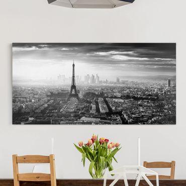 Stampa su tela - La Torre Eiffel From Above Bianco e nero - Orizzontale 2:1