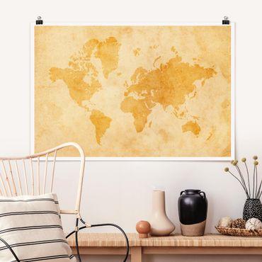 Poster - Mappa del mondo Vintage - Orizzontale 2:3