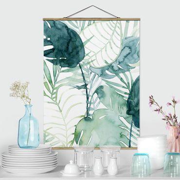 Foto su tessuto da parete con bastone - fronde di palma in acquerello II - Verticale 4:3