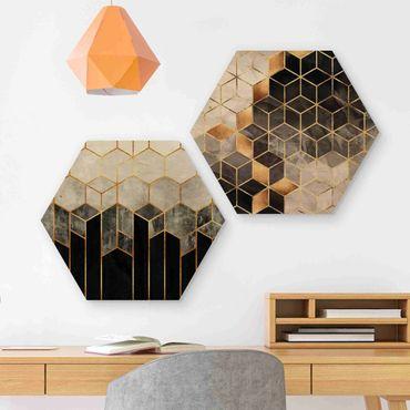 Esagono in legno - Elisabeth Fredriksson - Oro Geometria Acquarello