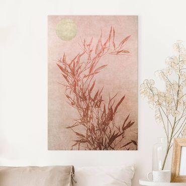 Stampa su tela - Sole dorato con bambù rosa - Verticale 3:2