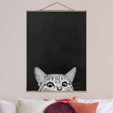 Foto su tessuto da parete con bastone - Laura Graves - Illustrazione Gatto Bianco e nero Disegno - Verticale 4:3