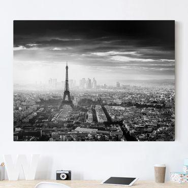 Stampa su tela - La Torre Eiffel From Above Bianco e nero - Orizzontale 4:3