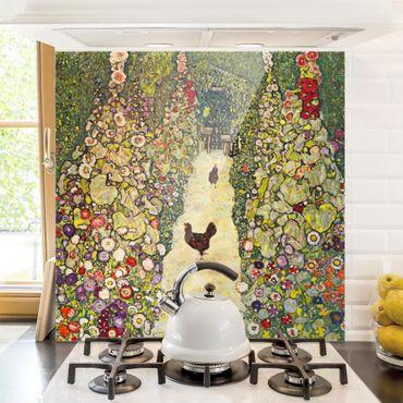 Spritzschutz Glas - Gustav Klimt - Gartenweg mit Hühnern - Quadrat 1:1