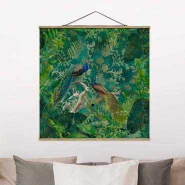 Foto su tessuto da parete con bastone - Shabby Chic Collage - Noble Peacock II - Quadrato 1:1