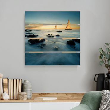 Stampa su legno - Barche a vela in The Ocean - Quadrato 1:1