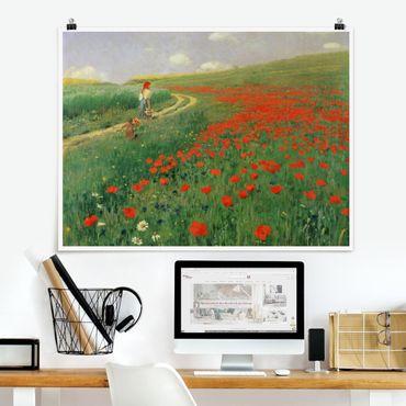 Poster - Pál Szinyei-Merse - Paesaggio estivo con una fioritura di papavero - Orizzontale 3:4