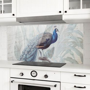 Paraschizzi in vetro - Shabby Chic Collage - Peacock