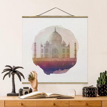 Foto su tessuto da parete con bastone - Acquarelli - Taj Mahal - Quadrato 1:1