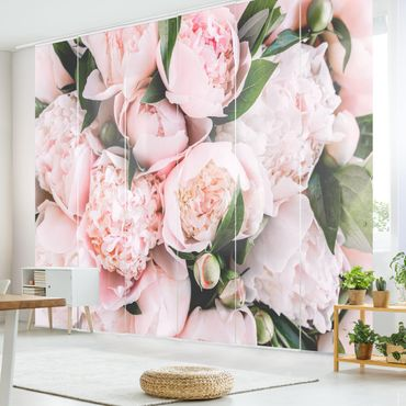 Tende scorrevoli set - Peonie rosa con foglie - 6 Pannelli