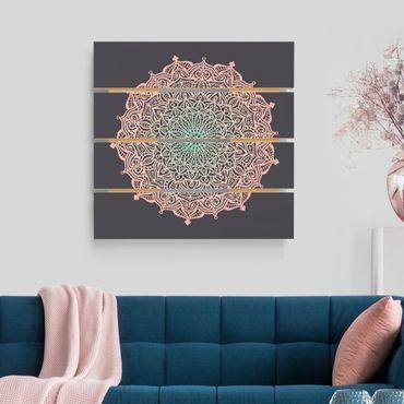Stampa su legno - Mandala Ornamento In rosa e blu - Quadrato 1:1