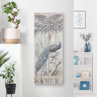 Appendiabiti in legno - Shabby Chic Collage - Peacock - Ganci cromati - Verticale