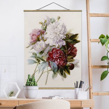Foto su tessuto da parete con bastone - Pierre Joseph Redoute - bouquet di rosso, viola e bianco Peonie - Verticale 4:3