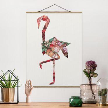 Foto su tessuto da parete con bastone - origami Flamingo - Verticale 4:3