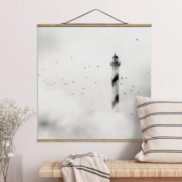 Quadro su tessuto con stecche per poster - Faro Nella Nebbia - Quadrato 1:1