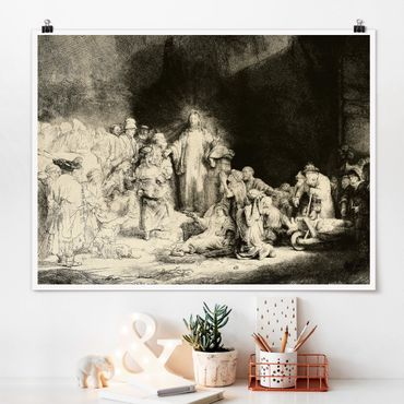 Poster - Rembrandt van Rijn - Cristo la guarigione dei malati - Orizzontale 3:4